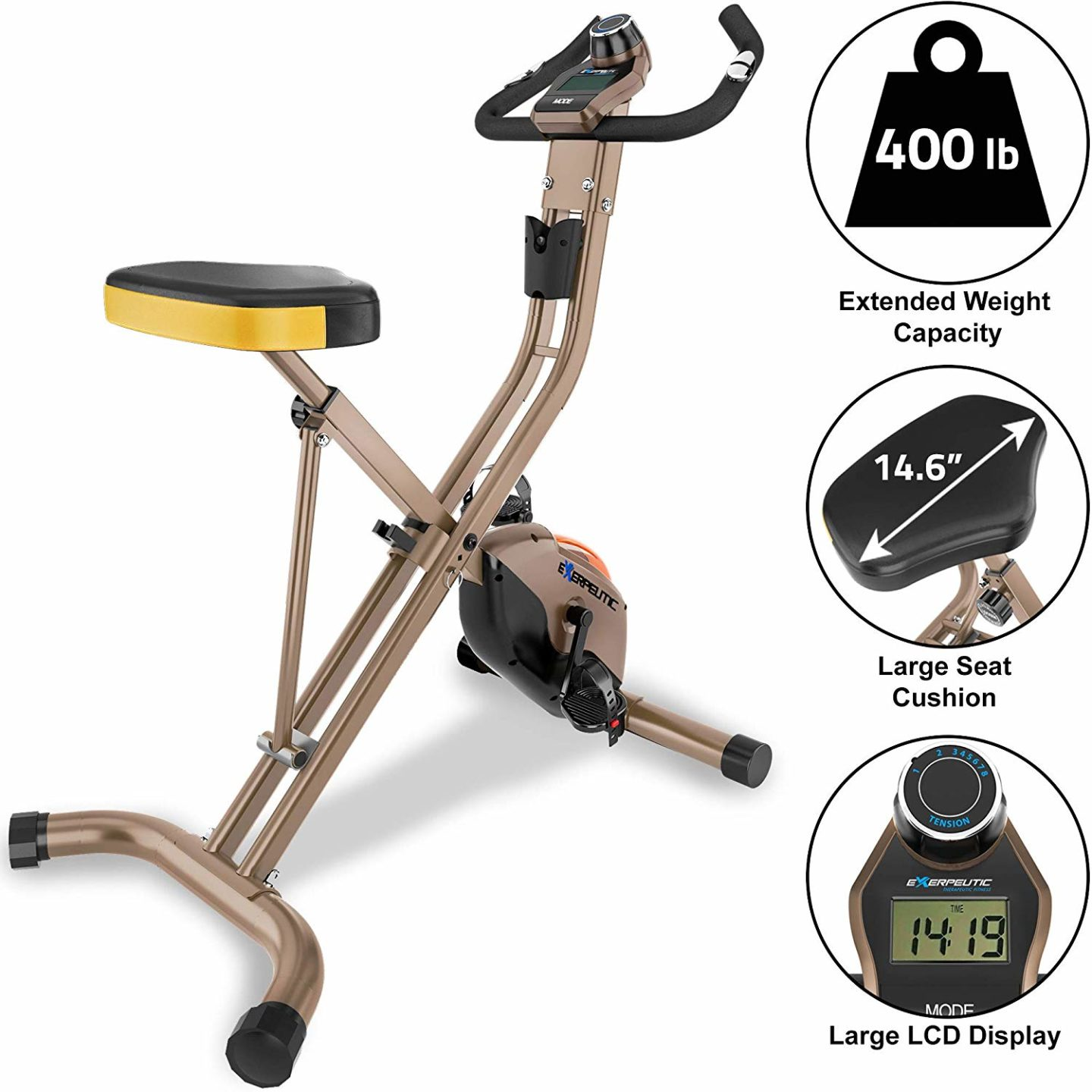 Exerpeutic GOLD 500 XLS Folding Upright Bike